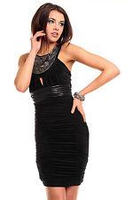 Damen Kleid Kurz Pailletten Glitzer Abendkleid Cocktailkleid Kleine Schwarze