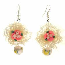 Boucles d'oreilles fleur fimo ROSE dentelle beige perle a papillons idée cadeau