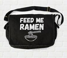 Feed Me Ramen Messenger Bag canvas shoulder bag college bookbag funny anime mens