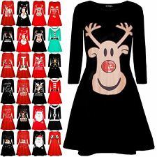 Mini Vestido Mujer señoras Feliz Navidad Reno Santa Cara Navidad Acampanada de swing