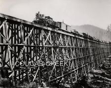 5x7 STEAM ENGINE LOCOMOTIVE LOGGING TRAIN HUGE TRESTLE WA WASHINGTON 1925 PHOTO