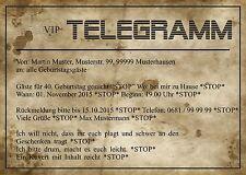 Einladungskarten für Geburtstag Telegramm