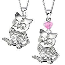 EULE Anhänger mit Kette Halskette Herz Uhu Vogel 925 er Silber für Kinder Damen