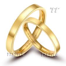 TT 14K GP Plain S.Steel Engagement Wedding Band Ring For Couple Engravable