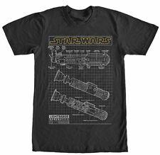 Star Wars Lightsaber Schematics Yellow Logo Black Men's T-Shirt New