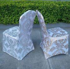 ORO/ARGENTO stampa floreale in Spandex Lycra Sedia copertura prom festa matrimonio evento