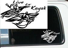 Live to kayak sticker, kayak vinyl decal, kayak tribal decal rn