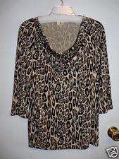 Madison Brand Ladies Leopard Print Draped Neck Top Size Large NWT