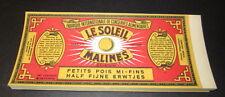 Wholesale Lot of 100 Old 1930's Le Soleil SUN Vege Can LABELS  Petits Pois PEAS