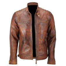 Mens Vintage Biker Distressed Brown Motorcycle Quilted Cafe Racer Leather Jacket