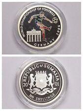 """Moneta 100 Scellini """"Mondiali di Calcio 2006 Germania"""" Somalia 2001 PP"""