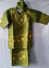 African Clothing Kids Children Girls Skirt Suit Green Gold Size 3/4,7/8,10/12