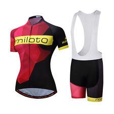 Womens Red Bike Bicycle Short Sleeve Jersey Padded Bib Shorts Ladies Cycling Kit