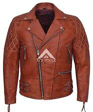 Sono ckless'S UOMO crosta Bordeaux Stile Biker Giacca in Pelle Nappa Moto
