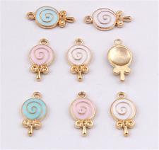 PJ1467 8pc Charms lollipop Pendant Beads Necklace Jewellery Making Enamel