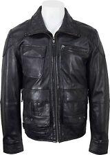 Unicornio Para Hombre Casual Corto suave al tacto negro chaqueta de cuero #dl