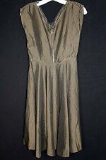 FRENCH VINTAGE1940'S-EARLY 1950'S GOLD & BLACK  TAFFETA RAYON DRESS SIZE 4-6