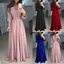 95e7aae1375480 Womens Lady Fashion Long Sleeve Lapel Maxi Long Dress Solid Tunic Shirt  Dresses