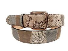 Cintura 4 cm in Coccodrillo,Pitone e Pelle Bovina-Lavorazione Patchwork