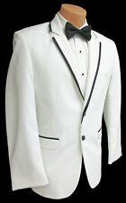 Men's White Jean Yves Savoy Tuxedo Dinner Jacket with Black Trim Wedding Prom