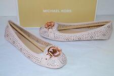 New $120 Michael Kors Fulton Moc Lasered Leather Soft Pink Flats Rose Gold Charm