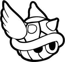 Decal Vinyl Truck Car Sticker - Video Games Super Mario Kart Blue Koopa Shell