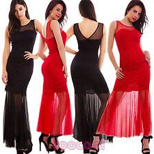 Vestito donna abito lungo velato pizzo elasticizzato aderente sexy nuovo WD-2108