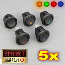 5 x SMARTSWITCH 12V Rotondo Rocker On / Off Interruttore Auto / Van / DASH / BARCA LED Luce / Nero