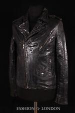 Para Hombre BRANDO SLIM Negro Cocodrilo Cocodrilo Piel de cordero cuero Biker moto chaqueta
