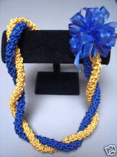 Hawaiian Rattail Ribbon Lei Blue Gold Graduation