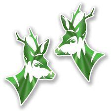 2 X Verde Cabeza De Ciervo Pegatina de vinilo Laptop Viaje Equipaje Coche #6453