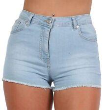 Womens High Waist Stretchy Denim Summer Shorts Hotpants Frayed Hem Girls Ladies