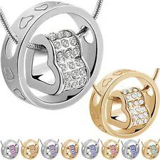 Herzkette Zirkonia Silber Halskette Herzform Damenkette Ring Collier Liebe Gold