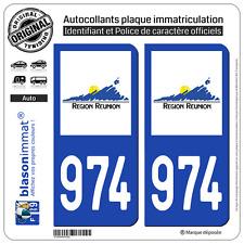 2 Stickers autocollant plaque immatriculation : 974-H Réunion LogoType