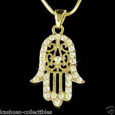 w Swarovski Crystal Gold Plated Jewish Hamsa Hamesh Fatima Hand Pendant Necklace