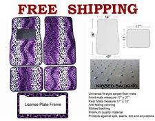 Animal Print Purple Leopard Carpet Floor Mats For Car Truck License Plate Frame