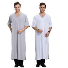 Men's Saudi Thobe Robe Islamic Muslim Jubba Arab Kaftan Abaya Short Sleeve Dress