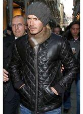 David Beckham Neri in Pelle Elegante Giacca Biker-Bnwt