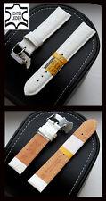 Echt Leder Uhrenarmband CAVADINI, weiss Krokoprägung, Stahlschliesse 12 bis 26mm