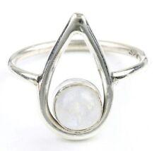Luna Drop Ring, Sterling Silver Moonstone Ring, Stone Jewelry, Cosmic, Gemstone