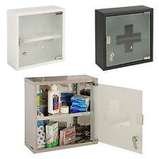 Wall Mountable Medicine Cabinet Cupboard Lockable Keys First Aid Box Glass Door