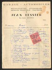 "BOURGES (18) GARAGE MOTO , CYCLOMOTEUR & TRACTEUR ""Jean TESSIER"" en 1947"