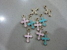 10 BLUE/PINK Gold Plated Enamel Cross Christening Baptism Bomboniere Martirika