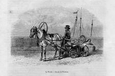 Stampa antica CARROZZA con CAVALLO TROSKI Russia 1853 Old Print Horse Horses
