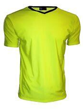 Para Hombre Neon Uv Brillante Lycra Amarillo Cuello V Top T-Shirt Party Dress Up Club Rave
