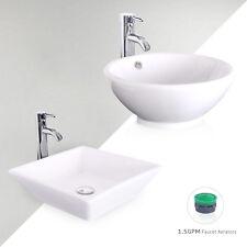 Bathroom Ceramic Vessel Vanity Sink W/ Faucet White Porcelain Basin Pop Up Drain