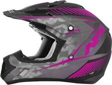 """AFX FX-17 """"Girls"""" Frost Dirt Bike Motocross ATV Helmet (Kid Sizes) Gray/Fuchsia"""