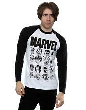 Marvel Men's Comics Multi Heads Long Sleeved Baseball Shirt