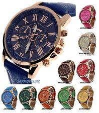 New Formal Roman Display Dress Wrist Watch Leather Strap Quartz 12 Colors Unisex