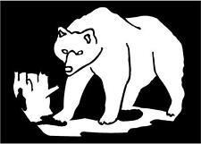WHITE Vinyl Decal - bear with log hunt bow gun fun truck trailer sticker